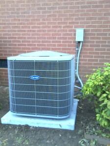 Carrier air conditioning unit installed outside a home in South Carolina